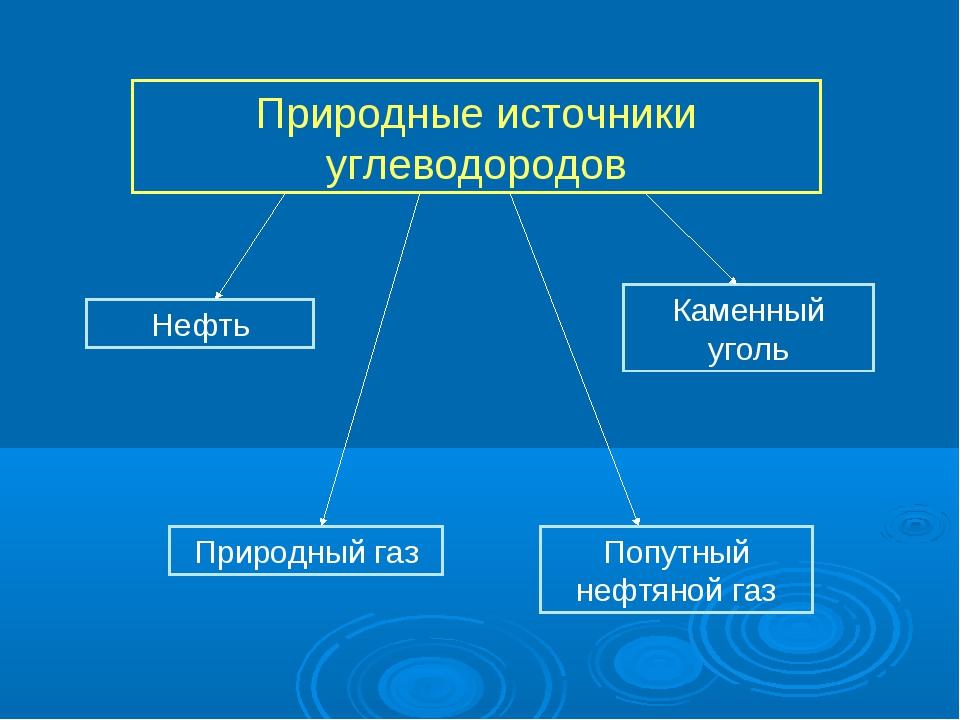 Природные источники углеводородов Нефть Природный газ Попутный нефтяной газ К...