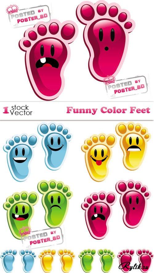 Веселые смайлы - следы в векторе. Funny Color Feet Vector