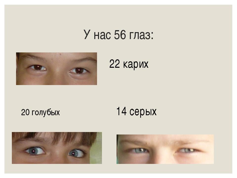 У нас 56 глаз: 22 карих 20 голубых14 серых