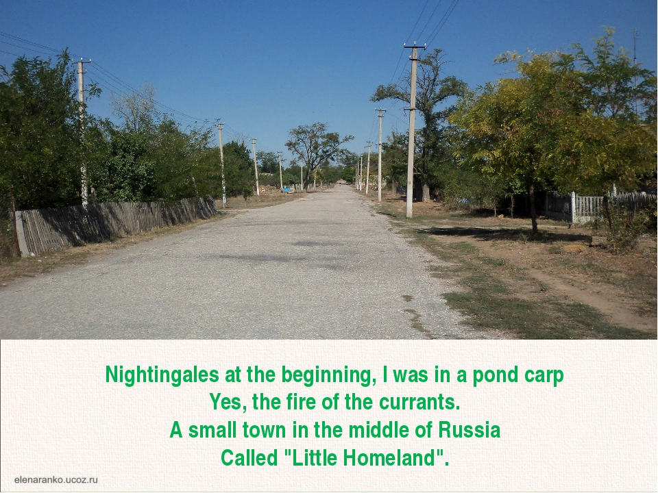 Nightingales at the beginning, I was in a pond carp Yes, the fire of the curr...