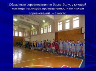 Областные соревнования по баскетболу, у юношей команды техникума промышленнос