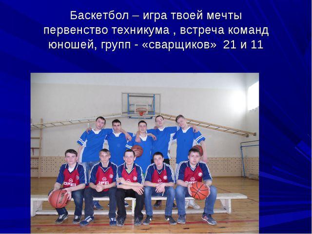 Баскетбол – игра твоей мечты первенство техникума , встреча команд юношей, гр...