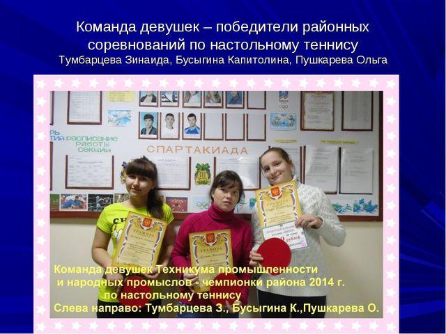 Команда девушек – победители районных соревнований по настольному теннису Тум...