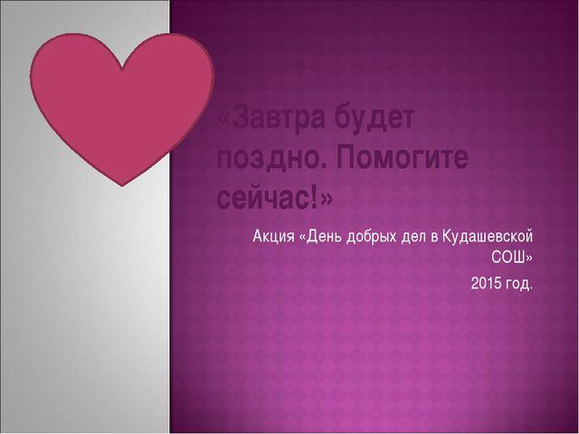 Акция «День добрых дел в Кудашевской СОШ» 2015 год. «Завтра будет поздно. По...