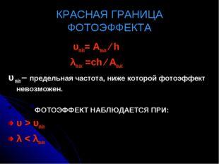 КРАСНАЯ ГРАНИЦА ФОТОЭФФЕКТА υmin= Авых ∕ h λmах =сh ∕ Авых υ min – предельная