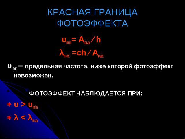 КРАСНАЯ ГРАНИЦА ФОТОЭФФЕКТА υmin= Авых ∕ h λmах =сh ∕ Авых υ min – предельная...