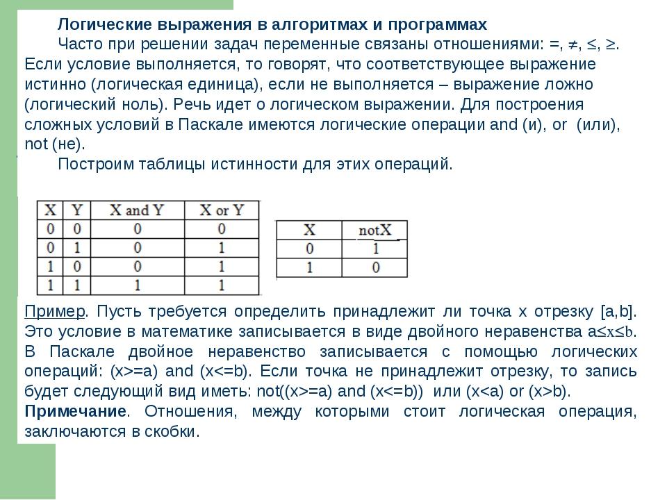 Логические выражения в алгоритмах и программах Часто при решении задач переме...
