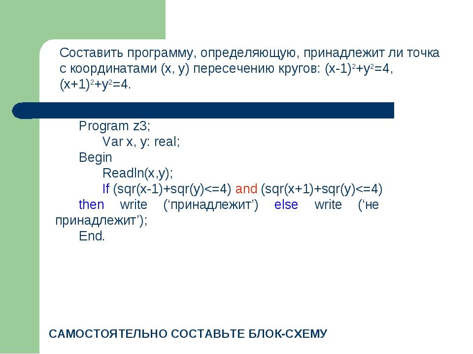 Составить программу, определяющую, принадлежит ли точка с координатами (x, y)...