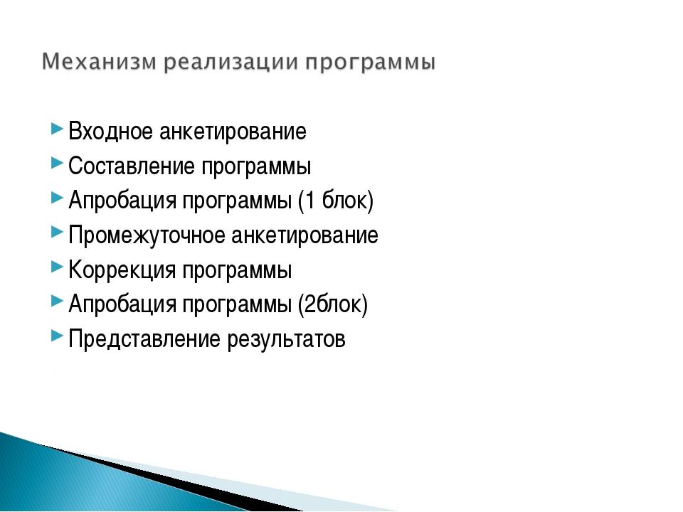 Входное анкетирование Составление программы Апробация программы (1 блок) Пром...
