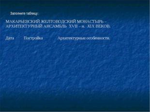 Заполните таблицу: МАКАРЬЕВСКИЙ ЖЕЛТОВОДСКИЙ МОНАСТЫРЬ – АРХИТЕКТУРНЫЙ АНСАМ