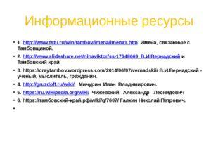 Информационные ресурсы 1. http://www.tstu.ru/win/tambov/imena/imena1.htm. Име