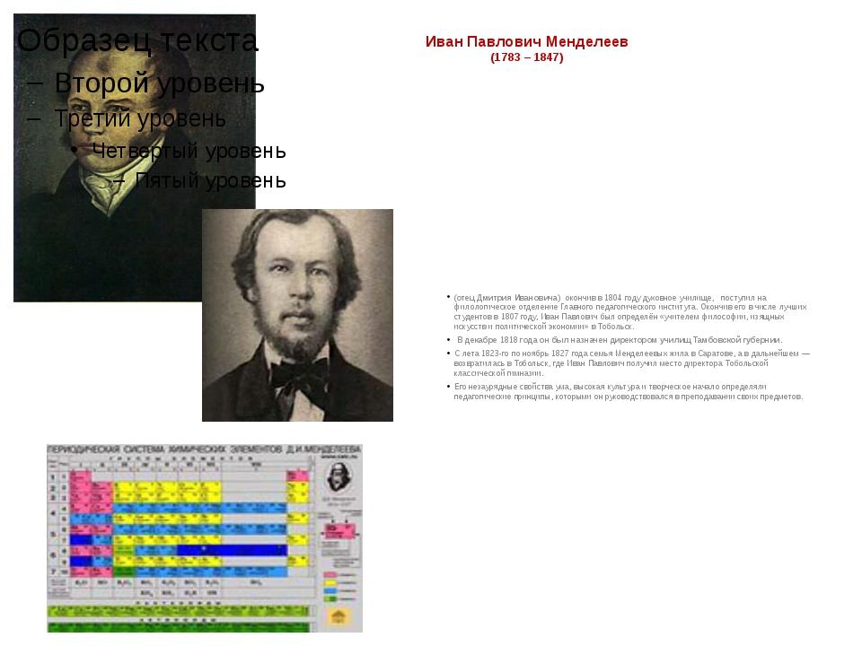 Иван Павлович Менделеев (1783 – 1847) (отец Дмитрия Ивановича) окончив в 1804...