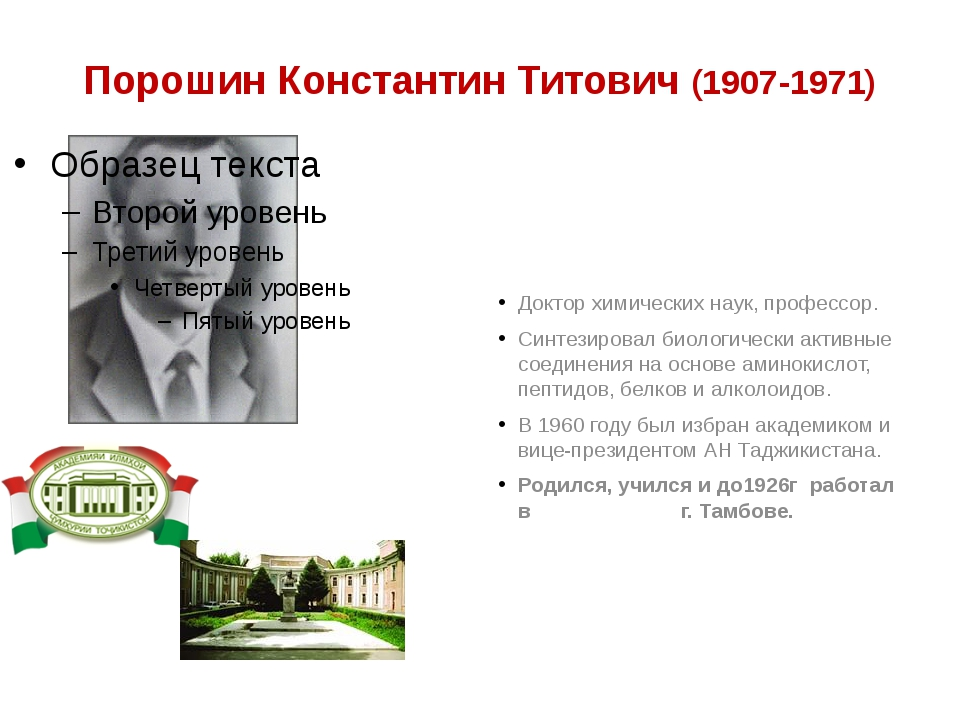 Порошин Константин Титович (1907-1971) Доктор химических наук, профессор. Син...