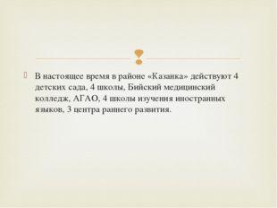 В настоящее время в районе «Казанка» действуют 4 детских сада, 4 школы, Бийск