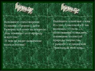 Вспомните стихотворение Пушкина «Пророк», дайте Развернутый ответ на вопросы