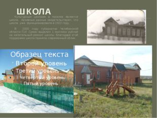ШКОЛА Культурным центром в поселке является школа. Архивные данные свидетельс