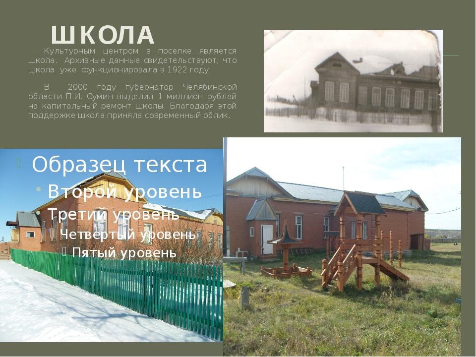 ШКОЛА Культурным центром в поселке является школа. Архивные данные свидетельс...