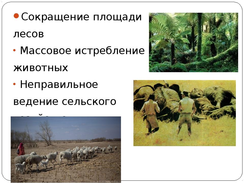 Сокращение площади лесов Массовое истребление животных Неправильное ведение с...