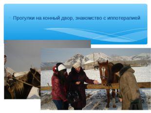 Прогулки на конный двор, знакомство с иппотерапией