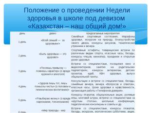 Положение о проведении Недели здоровья в школе под девизом «Казахстан – наш о