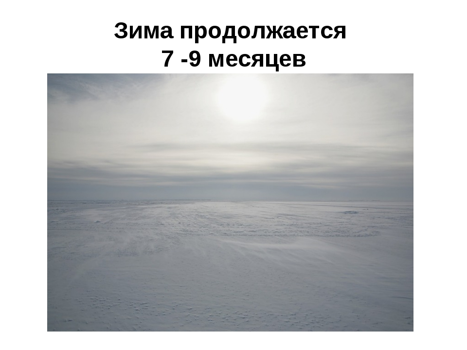 Зима продолжается 7 -9 месяцев