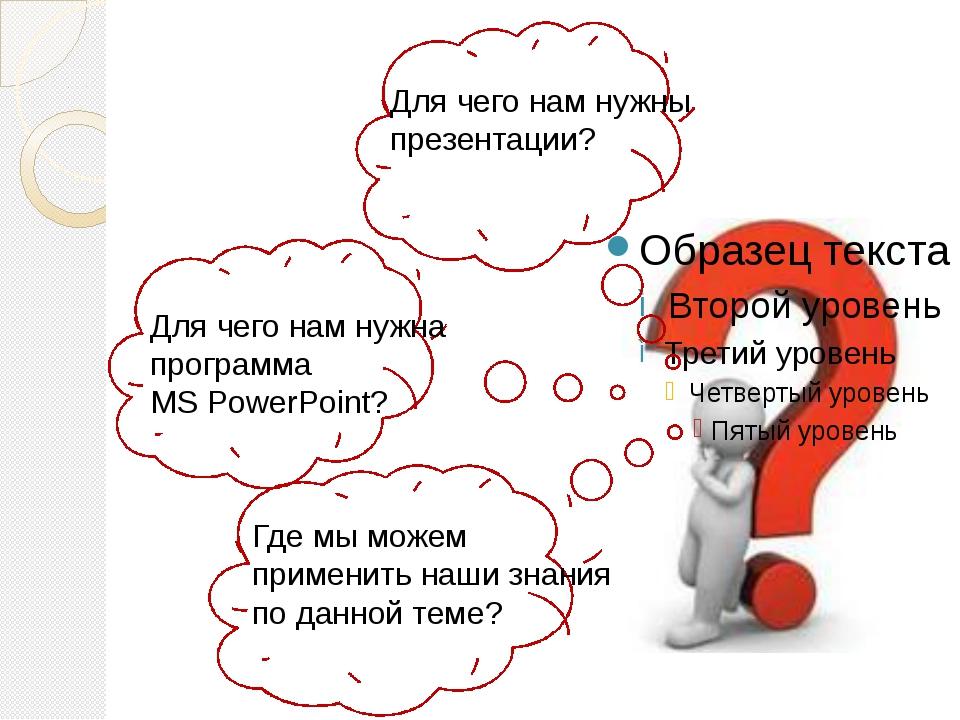 Для чего нам нужны презентации? Для чего нам нужна программа MS PowerPoint?...