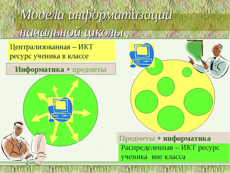 Модели информатизации начальной школы Централизованная – ИКТ ресурс ученика в...