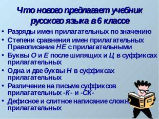 Что нового предлагает учебник русского языка в 6 классе Разряды имен прилагат