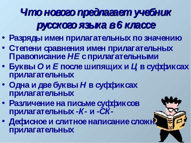 Что нового предлагает учебник русского языка в 6 классе Разряды имен прилагат...