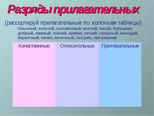 Разряды прилагательных (рассортируй прилагательные по колонкам таблицы) Опытн...