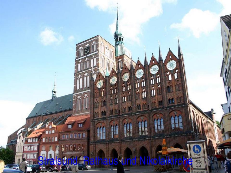 Stralsund. Rathaus und Nikolaikirche