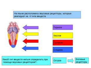 На языке расположены вкусовые рецепторы, которые реагируют на 4 типа веществ