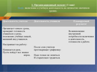 1. Организационный момент (1 мин) Цель: включение в учебную деятельность на л