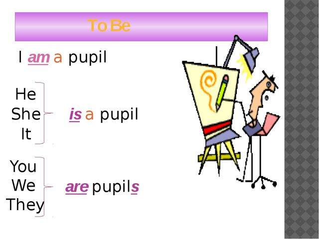 To Be I am a pupil He She It is a pupil You We They are pupils