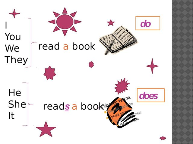 do does I You We They read a book He She It reads a book