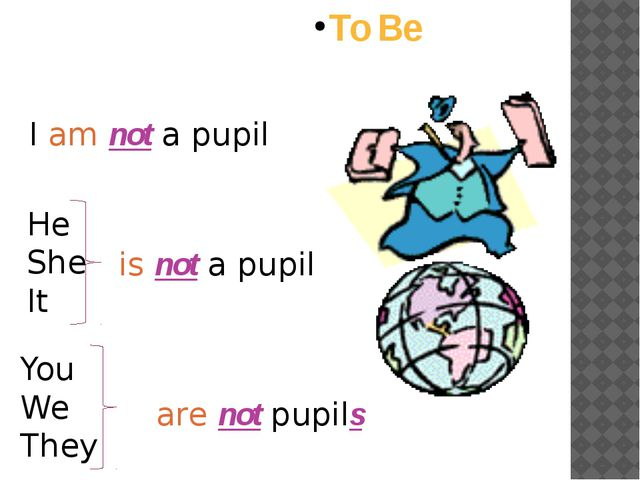 To Be I am not a pupil He She It is not a pupil You We They are not pupils