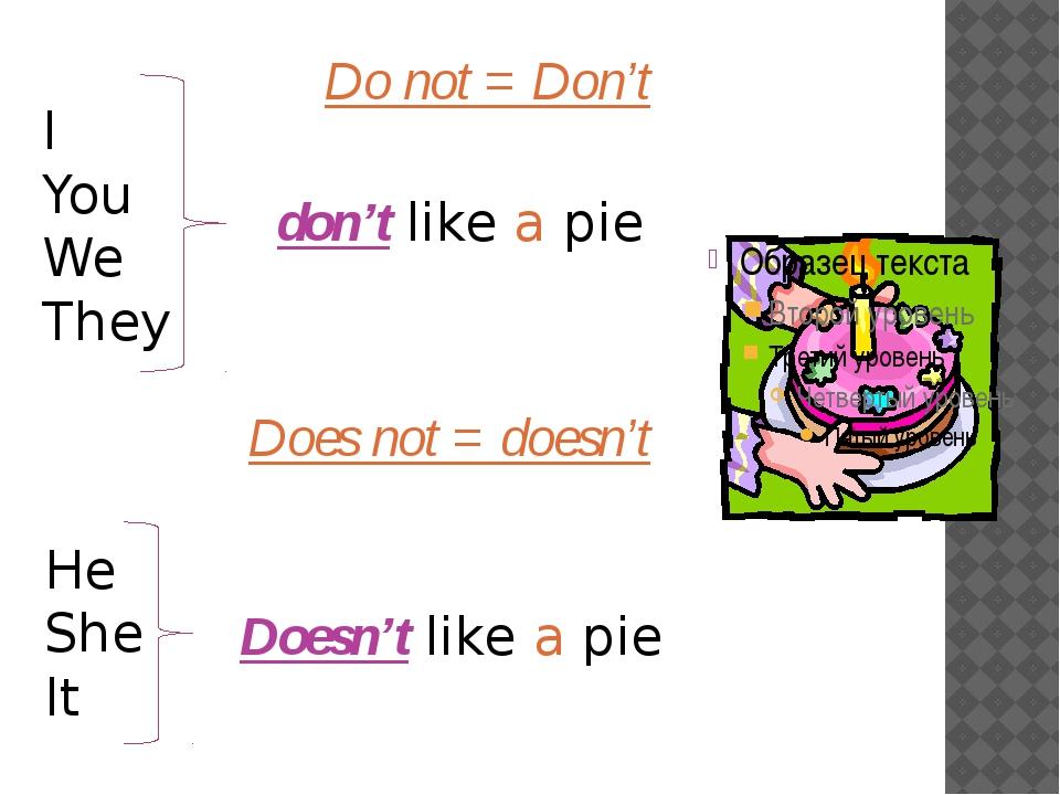 I You We They Do not = Don't don't like a pie He She It Doesn't like a pie Do...