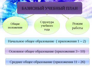 БАЗИСНЫЙ УЧЕБНЫЙ ПЛАН Общие положения Структура учебного года Режим работы На