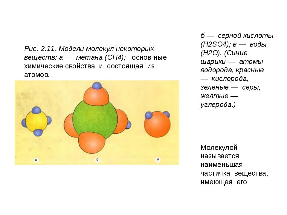 Рис. 2.11. Модели молекул некоторых веществ: а — метана (CH4);  основные...
