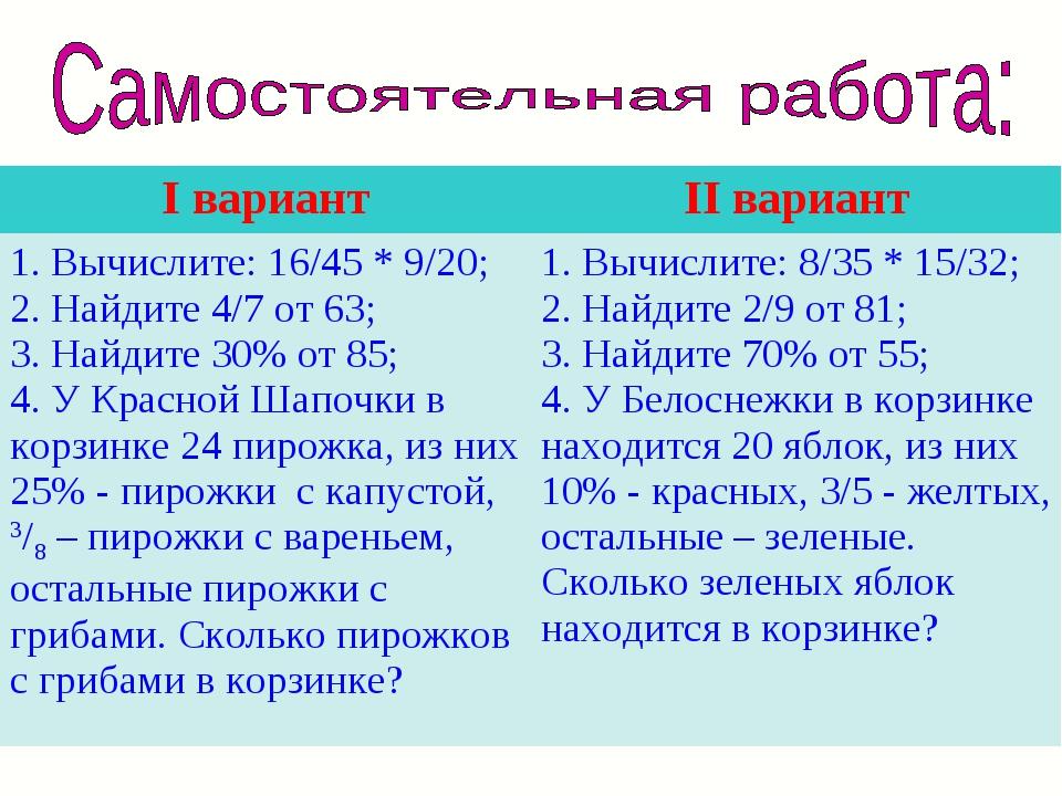 I вариантII вариант 1. Вычислите: 16/45 * 9/20; 2. Найдите 4/7 от 63; 3. Най...