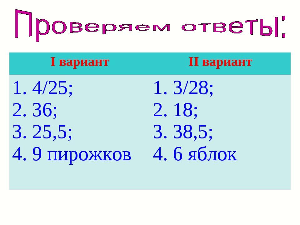 I вариантII вариант 1. 4/25; 2. 36; 3. 25,5; 4. 9 пирожков1. 3/28; 2. 18; 3...