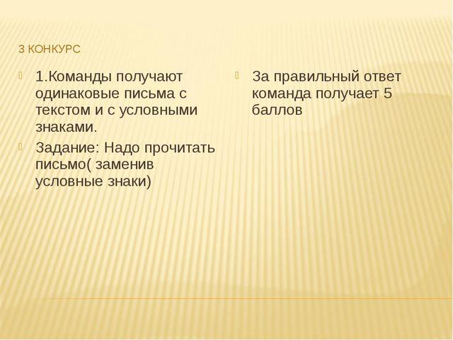 3 КОНКУРС 1.Команды получают одинаковые письма с текстом и с условными знакам...