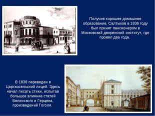 Получив хорошее домашнее образование, Салтыков в 1836 году был принят пансион
