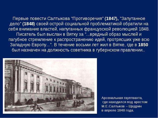 """Первые повести Салтыкова """"Противоречия"""" (1847), """"Запутанное дело"""" (1848) свое..."""