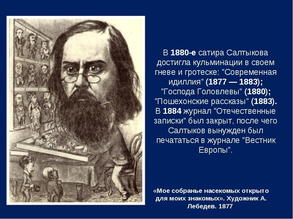 «Мое собранье насекомых открыто для моих знакомых». Художник А. Лебедев. 1877...
