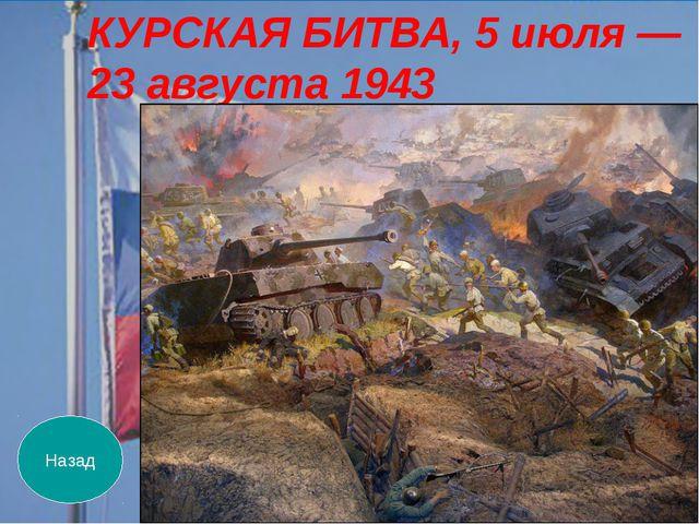 Назад КУРСКАЯ БИТВА, 5 июля — 23 августа 1943