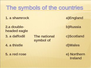 1. a shamrock	The national symbol of	a)England 2.a double-headed eagle	b)Russ