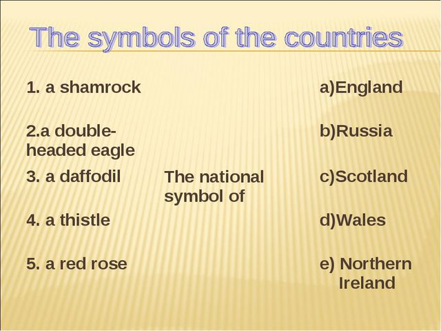 1. a shamrock	The national symbol of	a)England 2.a double-headed eagle	b)Russ...