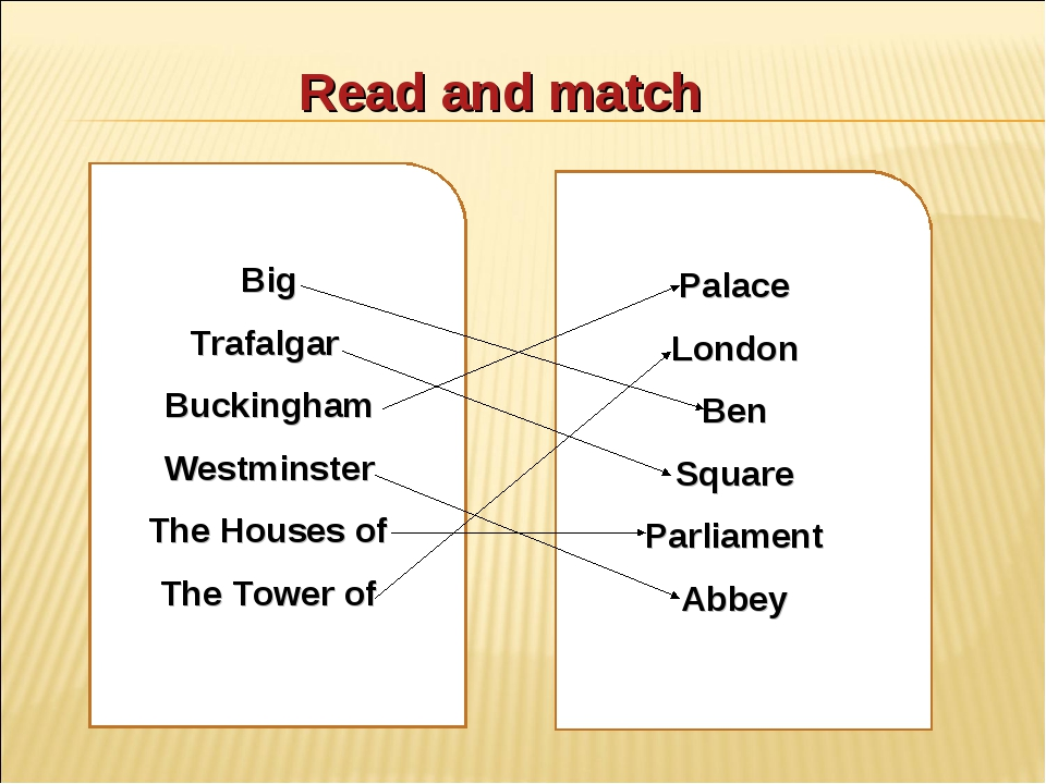 Read and match Big Trafalgar Buckingham Westminster The Houses of The Tower o...