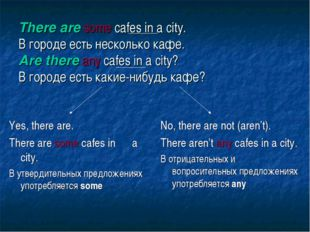 There are some cafes in a city. В городе есть несколько кафе. Are there any c